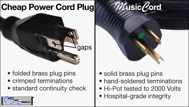 Cheap Plug With Weak Pins Loose Crimp Joints Versus MusicCord Plug With Solid Pins Soldered Joints - Essential Sound Products