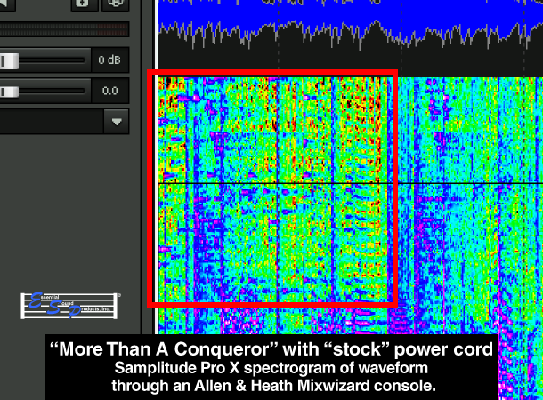 Samplitude Pro Spectrogram Visual Comparison Of MusicCord vs Stock Power Cord