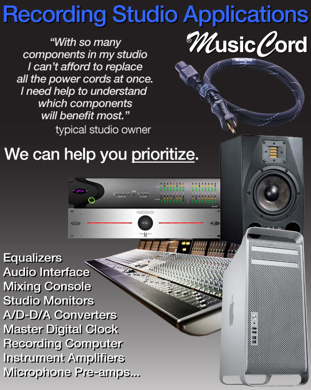 MusicCord-PRO ES Power Cord Uses In Pro-Audio Recording Studios - Essential Sound Products