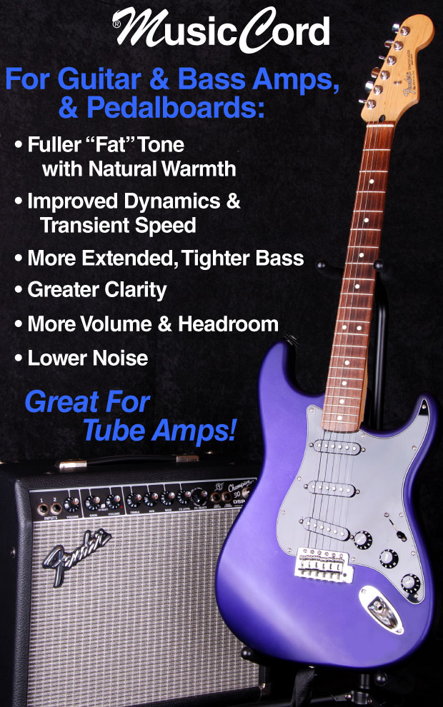 Guitar Amp Power Cord Improves Clarity  Tone Tighter Bass - MusicCord - Essential Sound Products