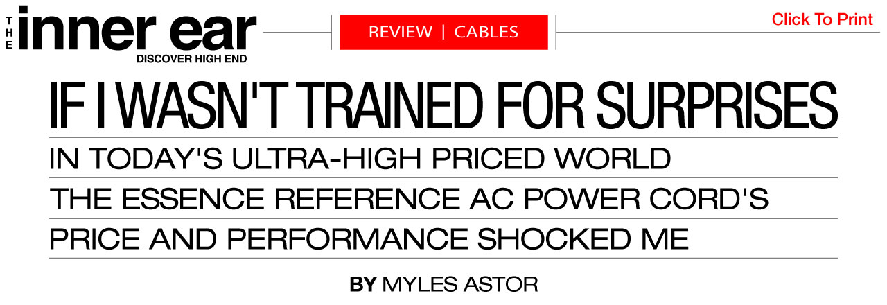 The Essence Reference Audiophile Power Cord Review The Inner Ear Magazine Essential Sound Products